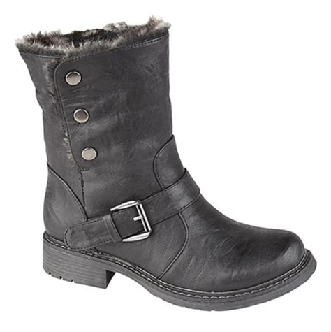 biker ankle boots ladies fold down leather look fur lined biker ankle boots
