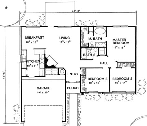 Ranch Style House Plan 67607 with 3 Bed 2 Bath 2 Car