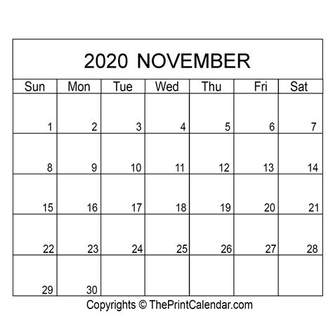 november  printable calendar template  word excel