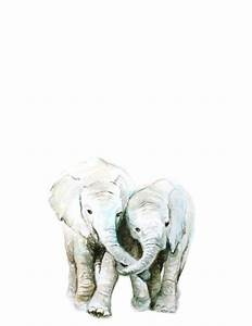 Elephant Watercolor PRINT Baby Animal Art Baby Elephant
