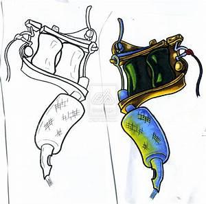 hot rod car tattoos: tattoo gun drawing