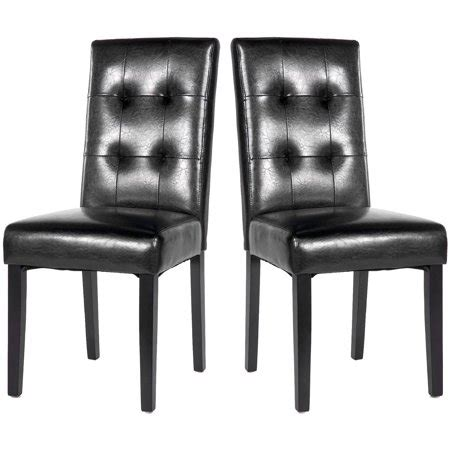 merax black pu leather upholstered dining chair  wood legs set   walmartcom