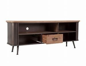 Meuble Tv Arrondi : meuble tv vintage en bois et m tal industriel ~ Teatrodelosmanantiales.com Idées de Décoration