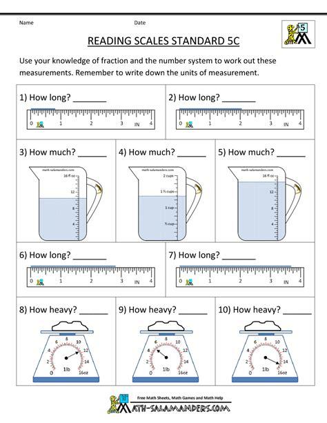 5th grade measurement worksheets