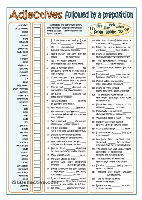 Adjectives Followed By Prepositions  Part 1 Esl Worksheet Of The Day  Esl Pinterest