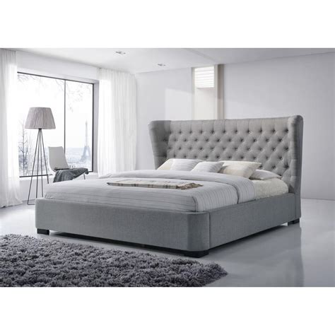 gray tufted bed luxeo manchester gray king upholstered bed k6320 gry