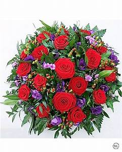 Red Rose and Purple Lisianthus Posy - Funeral Flowers London