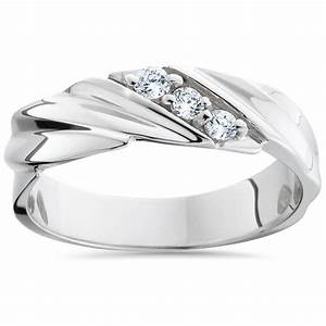 mens diamond wedding ring 3 stone 14k white gold high With wedding rings with 3 diamonds
