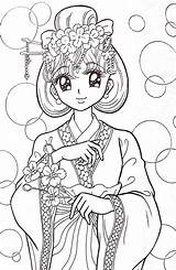 Coloring Anime Adult Books Manga Adults Coloriage Colouring Kimono Watercolor Gel Desenhos Pens Colorir Malvorlagen Sheets Pen Kawaii Dessin Geisha sketch template