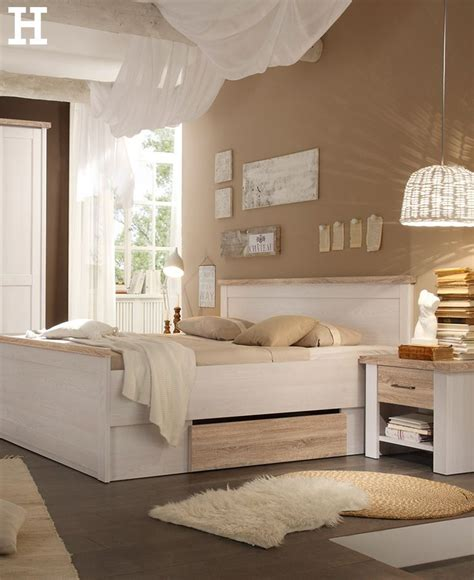 Schlafzimmer Beige Weiß by Bett Mit 2 Nachtkommoden 180x200 Wei 223 Eiche Optik