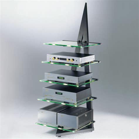 schroers schroers schroers schroers alphastatic tavolino in metallo nero 5 ripiani vetro trasparente a1430mm