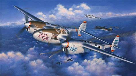 A Squadron Of P-38 Lightning Attack An Japanese Bomber