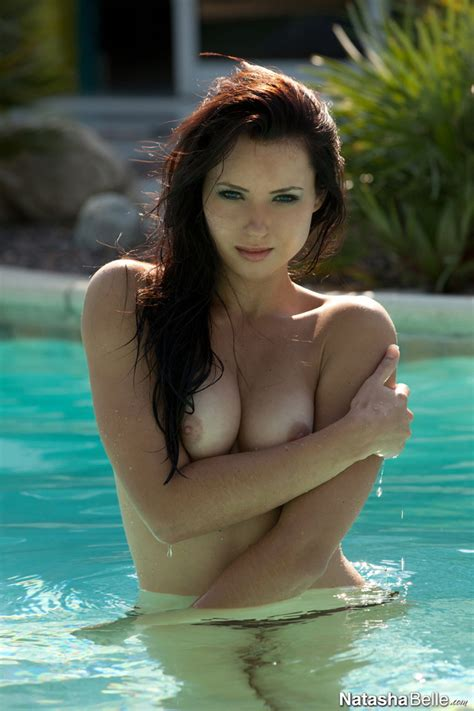 Natasha Belle Topless In The Pool Displaying Her Beautiful Teen Tits Teen Erotic