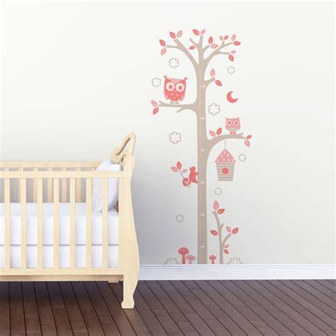 sticker mural quot toise chouettes gris et quot motif bébé