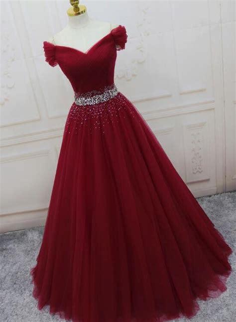wine red elegant princess gown handmade  shoulder ball