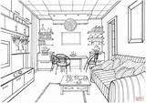 Colorear Coloring Sala Dibujo Perspective Drawing Dibujos Estar Interiores Ball Sketches Sketch Printable Supercoloring Drawings Perspektive Disegno Luminous Zeichnen Salotto sketch template