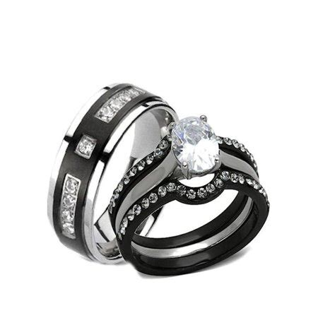his hers 4 black stainless steel titanium matching wedding band engagement ring