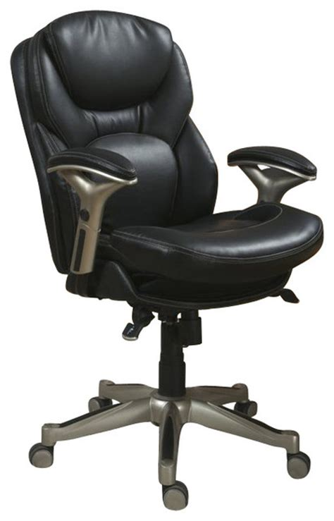 serta back in motion office chair in black bonded leather