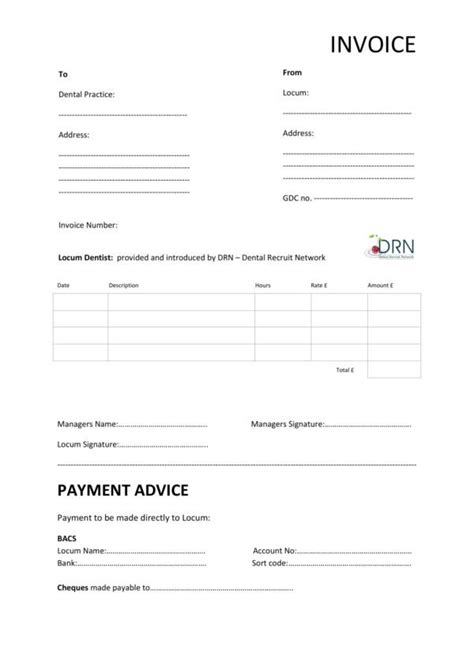 dental invoice templates   ms word excel