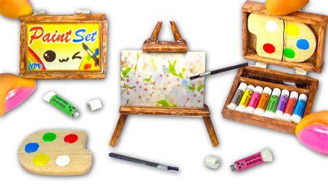 Miniature Diy Paint Set (paintings, Easel, Palette