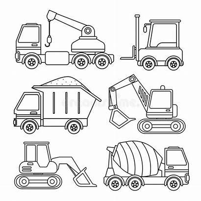 Coloring Equipment Special Children Excavator Cartoon Vector
