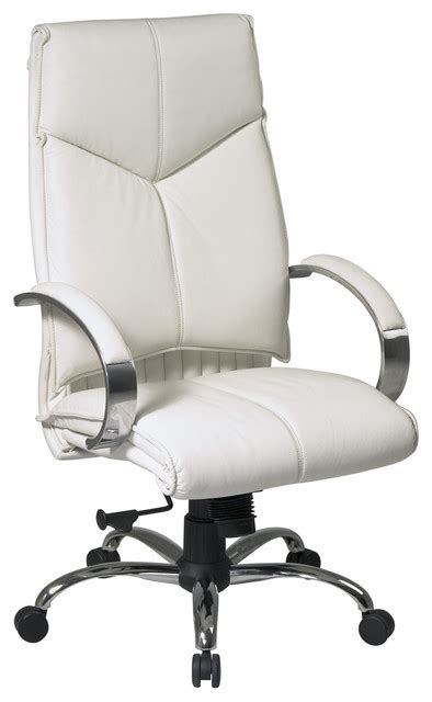 deluxe high back white executive leather office chair