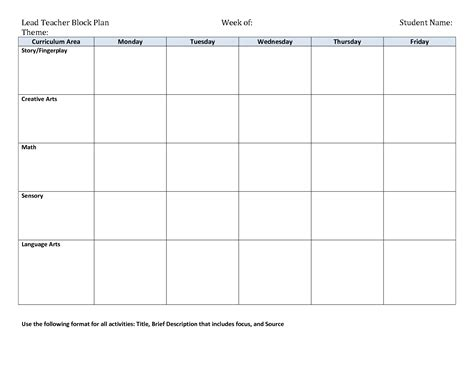 Early Childhood Lesson Plan Template Costumepartyrun