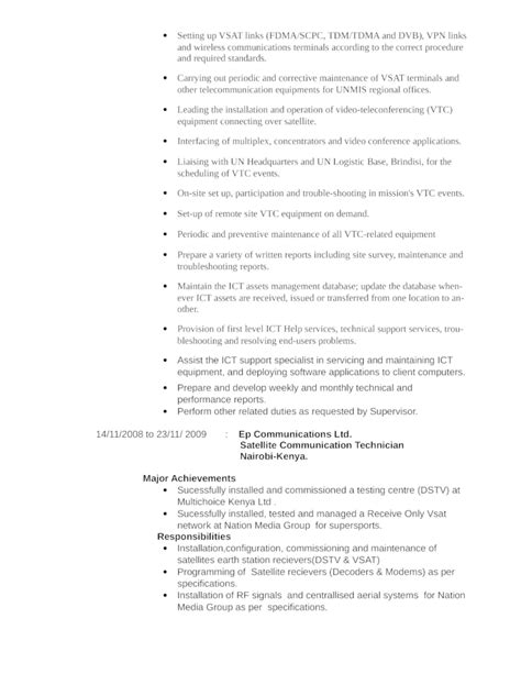 business telecommunications technician resume template