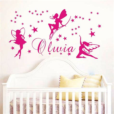 stickers chambre bebe fille fee custom name wall stickers baby bedroom mural wall say quote word lettering vinyl