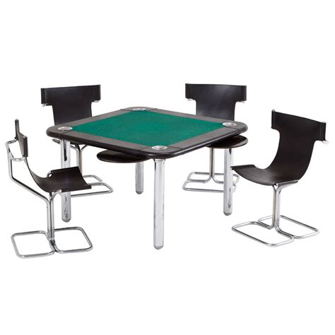 chrome and leather card table and chairs for sale at