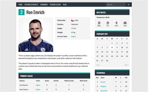 Soccer Player Profile Template by Sportspress Sports Club League Manager