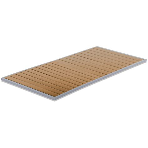 aluminum patio table top with plastic teak slats