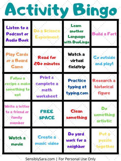 Activity Bingo Will Keep Your Kids Busy During Social