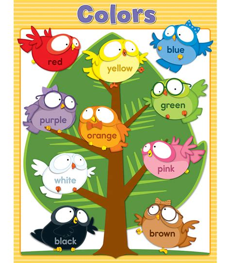 owl colors owl pals colors chart grade pk 1 carson dellosa publishing