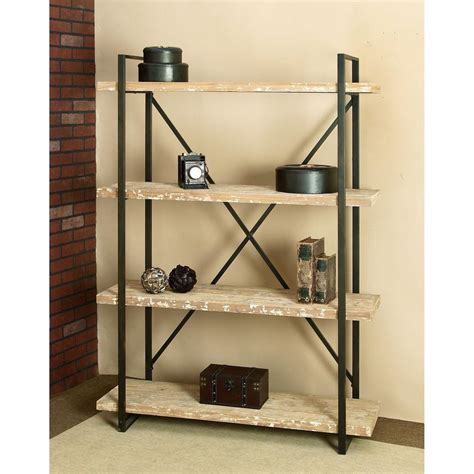 distressed wood bookcase distressed wood open bookcase 34853 the home depot