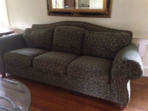 used settee 7 green traditional style ethan allen living room