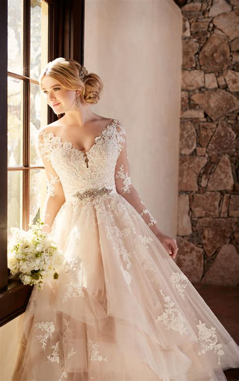 Wedding Dress With Long Illusion Lace Sleeves Essense Of