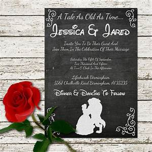 beauty and the beast wedding invitation rustic chalkboard With disney font wedding invitations