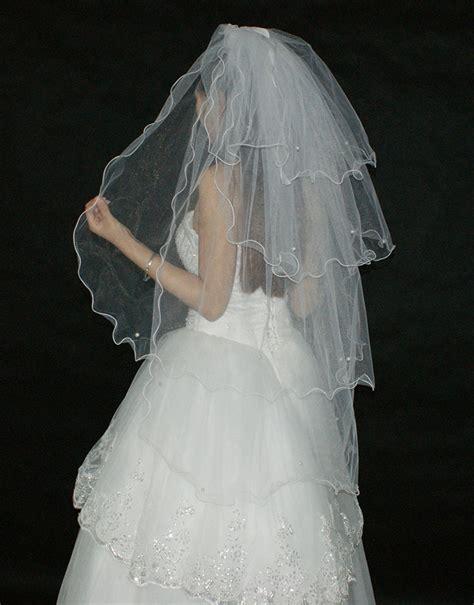 Multi Layer Beading Simple White Tulle Wedding Veils Long