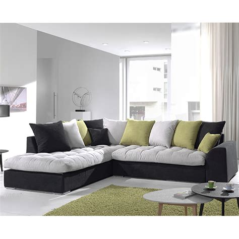 Canapé Angle Gris Et Noir En Tissu Sofamobili