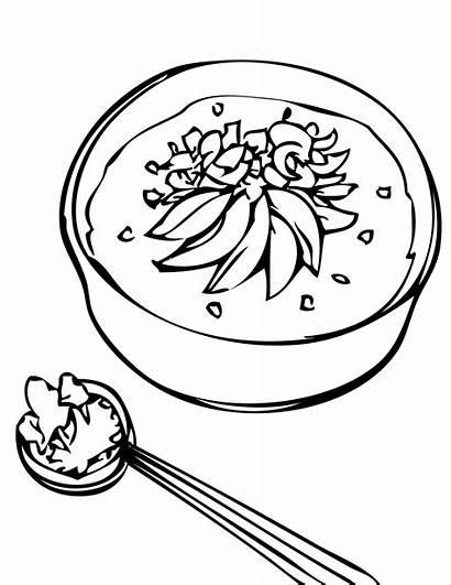Clipart Coloring Rice Soup Porridge Pages Stone