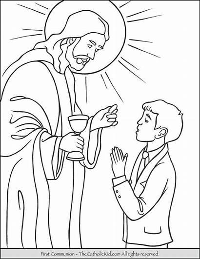 Communion Coloring Pages Boy Jesus Sacrament Children