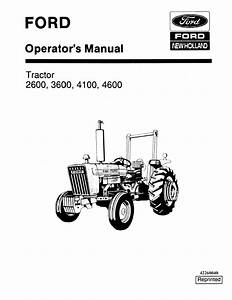 Ford Tractor 2600 3600 4100 4600 Operators Manual
