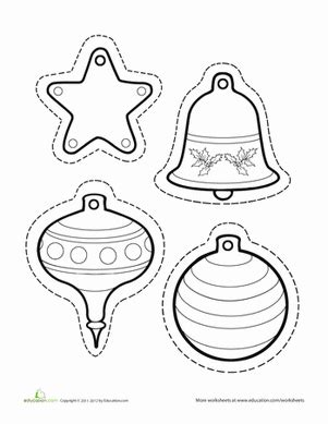 christmas ornaments coloring cut out paper ornaments worksheet education