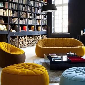 fauteuil jaune la couleur intemporelle et tendance With tapis jaune avec canape moelleux velours