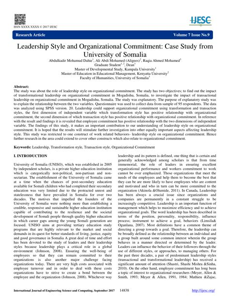 leadership style  organizational commitment case