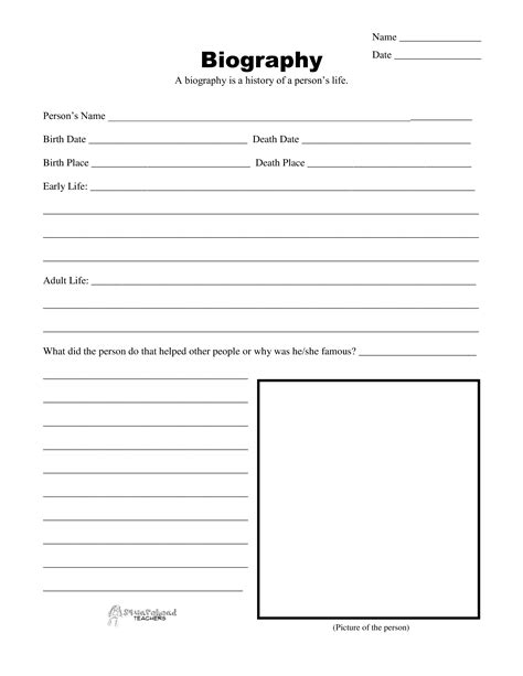 Biografie Vorlage by Blank Biography Template This Blank Biography