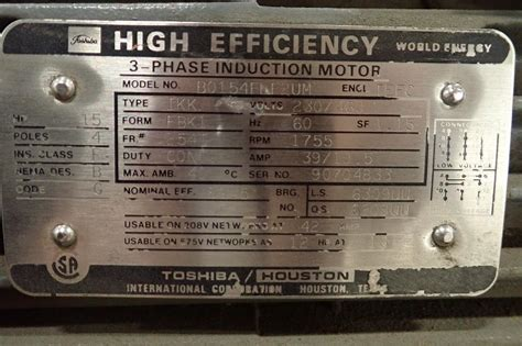 Electric Motor Specs by Toshiba 15 Hp Electric Motor See Photos For Additional
