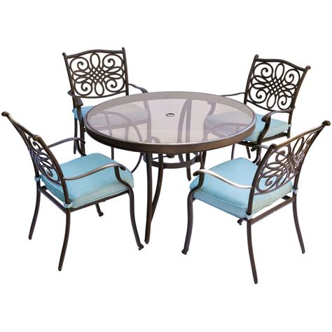 round glass breakfast table set hanover traditions 5 piece aluminum outdoor dining set