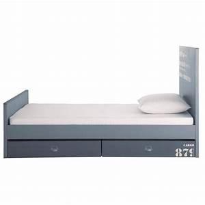 Bett 90 X 190 : bett aus holz 90 x 190 cm grau cargo maisons du monde ~ Lateststills.com Haus und Dekorationen